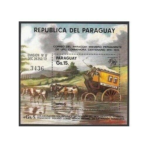 Paraguay 1536-1538,1540 sheet,MNH.UPU-100,1974.Coaches,Balloon,Transport,Space.