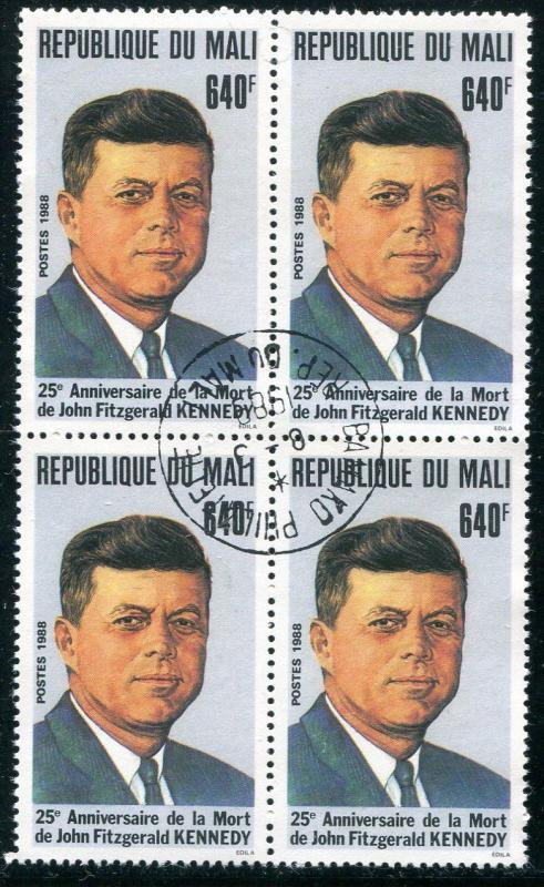 MALI 1988 JOHN F KENNEDY MEMORIAL STAMP IN A BLOCK