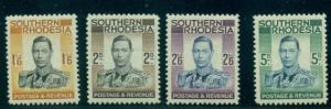 SOUTHERN RHODESIA #51-4 King George VI partial set, high values in set, og, LH,