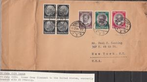 Germany - 11.7.1934 Lost colonies stamps on cover Eisenach - USA (5081)