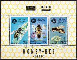 Korea 1979 M/S Insect Honeybee Animal Flower Flora Nature Stamps CTO Mi 1929-30