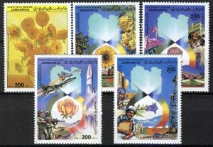 Libya 1986, Flowers, September Revolution set MNH