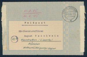 3rd Reich Jan 1945 Wehrertuechtigungslager SS Feldpost Cover G52773