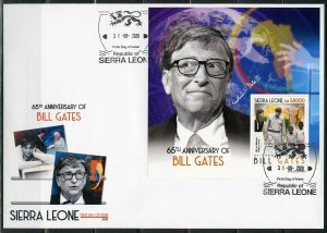 SIERRA LEONE 2020  65th  ANIVERSARY OF BILL GATES S/SHEET II FIRST DAY COVER