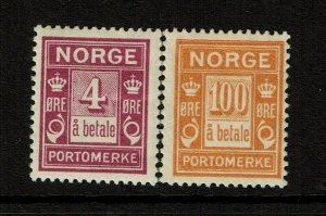 Norway SC# J7 and J11, Mint Hinged, Hinge Rem, J11 some gum disturbance - S9415