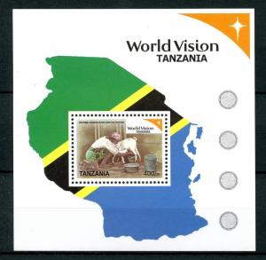 Tanzania Animals Stamps 2007 MNH World Vision 3rd Series Nutrition Goats 1v S/S