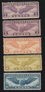 US C12, C16, C17, C19, C24 Winged Globes Air Mail Set Mint F-VF OG NH SCV $44.25