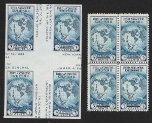 Doyle's_Stamps: MNH 1935 Byrd Special Printing Blocks NGAI, Sct #753** & #768**