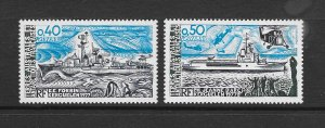 FRENCH SOUTHERN ANTARCTIC TERRITORY #77-8  NAVAL SHIPS MNH