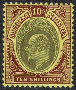 SOUTHERN NIGERIA 1904 KEVII 10/- WMK MULTI CROWN CA