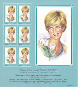 Uganda #1514, Sheet of 6, Princess Diana, Mint NH