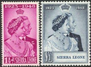 SIERRA LEONE-1948 Royal Silver Wedding Set Sg 203-204 UNMOUNTED MINT V42862