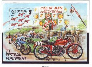 Isle of Man Sc 705 1996 TT Motorcycle stamp sheet used