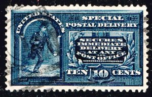 US STAMP BOB #E5 10c blue Special Delivery 1888 Used XFS SUPERB SMQ $130