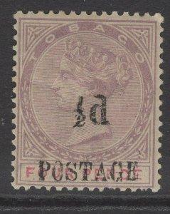 TOBAGO SG33 1896 ½d on 4d LILAC & CARMINE MTD MINT TONED