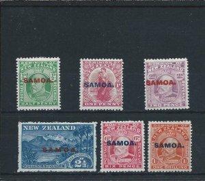 SAMOA 1914-15 SET OF SIX FINE MM SG 115/121 CAT £22