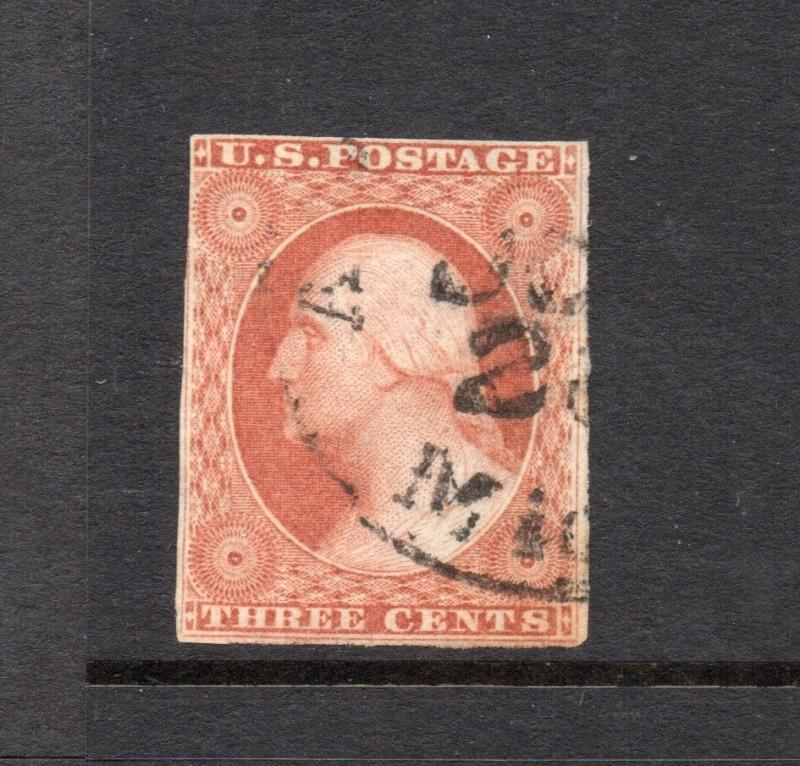 #10A - 3 cent stamp of 1851 - RARE FIRST PLATE #1 early - cv$160++  39R1e