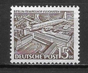 Germany Berlin 9N48 15pf Tempelhof Airpost single Unused Hinged