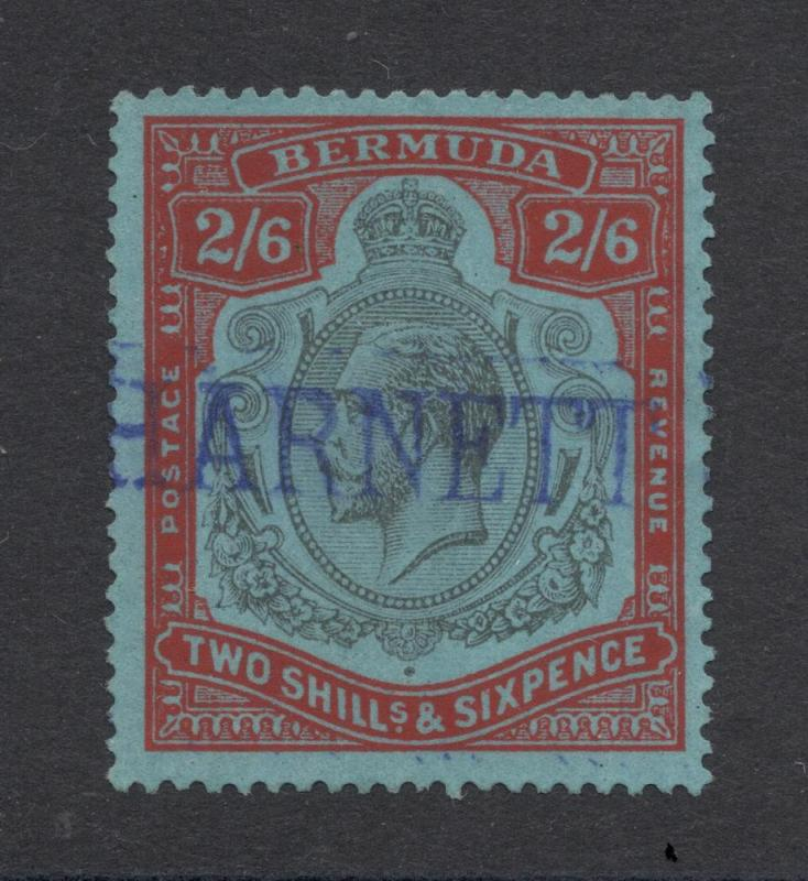 Bermuda #50 - 2 Shillings & 6 Pence - Red & Black on Blue
