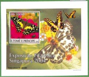 A0545 - S. TOME' & PRINCIPE -  ERROR  MISSPERF SHEET -  Butterflies  2004