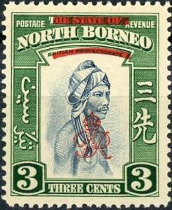 North Borneo #225 Murut - overprinted MNH pencil notation