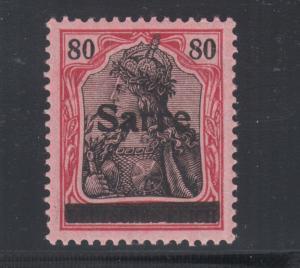 Saar Sc 16 MLH. 1920 80pf lake & black on rose Germania, type I overprint, VF