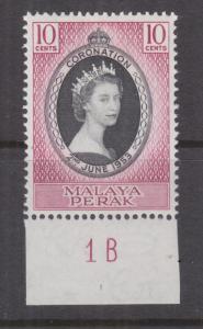 PERAK, MALAYSIA, 1953 Coronation 10c., Plate # 1B, mnh.