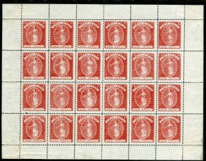BRITISH VIRGIN ISLANDS-1887-9 1d Red complete sheet of 24 mounted in margin Sg 3