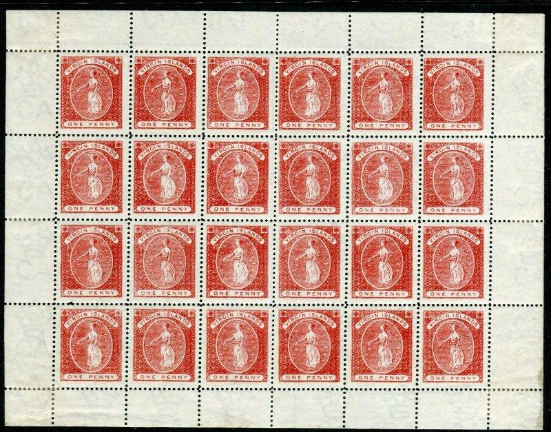 BRITISH VIRGIN ISLANDS-1887-9 1d Red complete sheet of 24 mounted in margin Sg 3