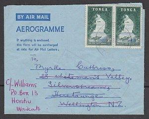 TONGA 1963 Formular aerogramme commercially used to NZ ex Nuku'alofa........K851