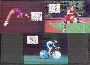 Liechtenstein 1996 Olympics Games Atlanta -96 3 Maxi Cards FDC