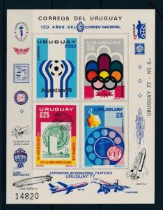 [55107] Uruguay 1976 Olympic games Football Stamp on stamp Imperf. SS MNH