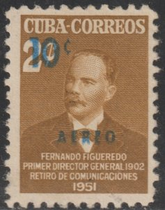 1952 Cuba Stamps Sc C53 Colonel Fernando Figueredo Surcharged NEW