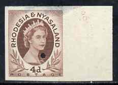 Rhodesia & Nyasaland 1954-56 QEII 4d red-brown imperf...