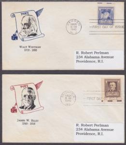 US Sc 864-868-17 FDCs. 1940 Famous American Poets, cplt set Cachet Craft cachets