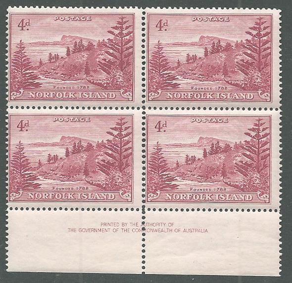 NORFOLK IS 1947-59 Ball Bay 4d imprint block of 4 MNH......................64964