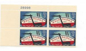 United States, 1325, 5c Erie Canal Plate Block of 4 #28998 UL, MNH