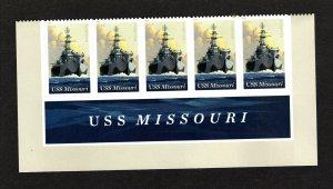2019 USS MISSOURI  75th Anniversary Bottom Header 5392 5 Stamps  MNH