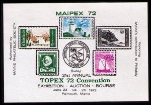 UNITED STATES 1972 MAIPEX EXHIBITION SOUVENIR SHEET,  LABEL, CINDERELLA