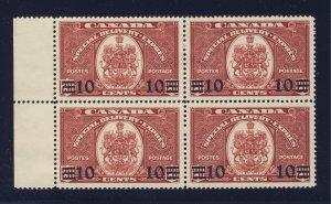 4x Canada S.D. Stamps Block of 4  #E9-10c/20c MH GD VF Guide Value = $48.00