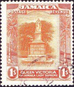 JAMAICA 1921 KGV 1/- Orange-Yellow & Brown-Orange SG102a Used