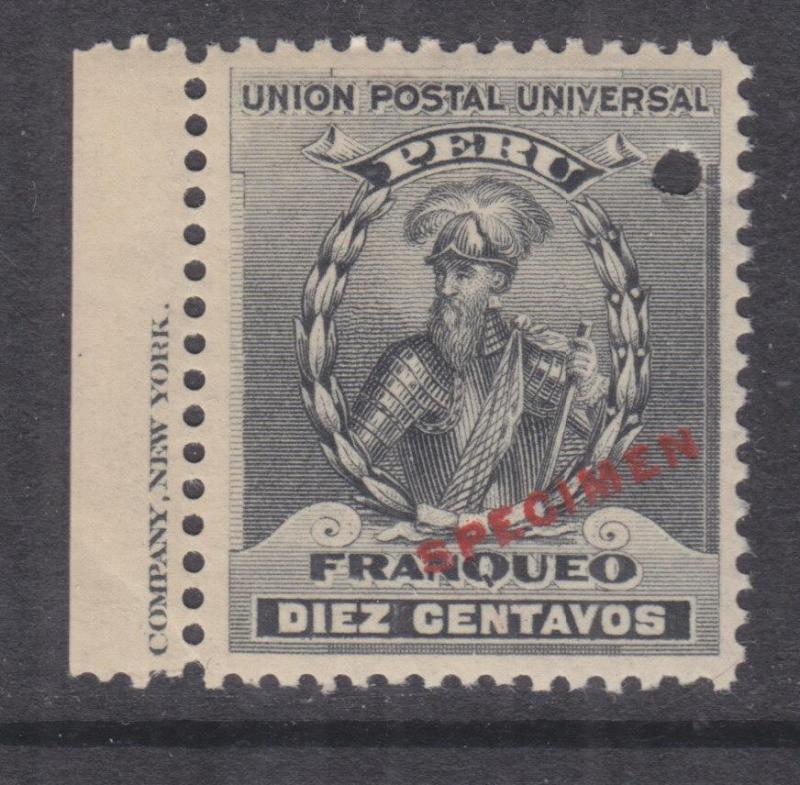 PERU, 1900 Pizarro 10c. Black, ABN Punched Proof, SPECIMEN in Red, mnh.