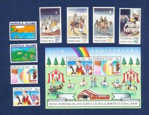 NORFOLK ISLAND - 369-376  - VF MNH - Christmas, Farm - 1985
