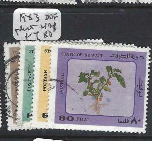 KUWAIT   (PP1305B)  1983  PLANTS  80F X4  DIFF  VFU