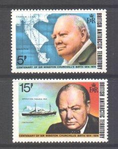 British Antarctic Territory BAT Scott 62/63 - SG61/62, 1974 Churchill Set MNH**