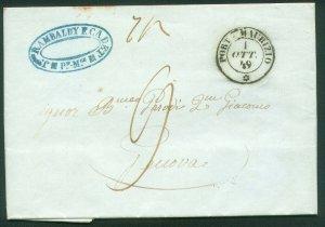 ITALY-Porto Maurizio 1849 FOLDED MARITIME LETTER TO GENOVA. F-VF  (70-78)
