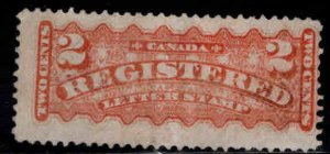 Canada Scott F1 Used 1875 Registration stamp Lightly canceled minor bend