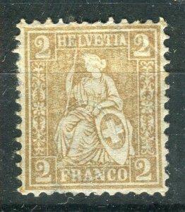 SWITZERLAND; 1881 classic Sitting Helvetia issue fine Mint hinged Shade of 2c.