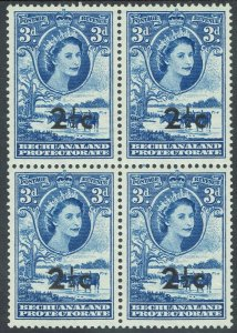 BECHUANALAND 1961 QEII CATLLE 21/2C ON 3D MNH ** BLOCK