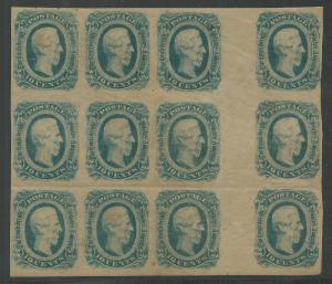 CSA Scott #12 (KB) Mint OG NH Veritcal Gutter Block of 12 Confederate Stamps VF